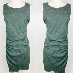 Leith Body-Con Olive Ruched Tank Dress Medium
